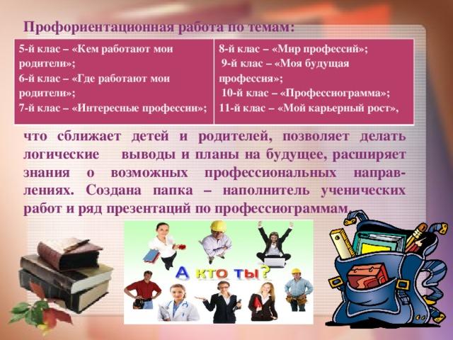 Профориентационная работа по темам:       что сближает детей и родителей, позволяет делать логические выводы и планы на будущее, расширяет знания о возможных профессиональных направ-лениях. Создана папка – наполнитель ученических работ и ряд презентаций по профессиограммам. 5-й клас – «Кем работают мои родители»; 6-й клас – «Где работают мои родители»; 8-й клас – «Мир профессий»; 7-й клас – «Интересные профессии»;  9-й клас – «Моя будущая профессия»;   10-й клас – «Профессиограмма»; 11-й клас – «Мой карьерный рост»,
