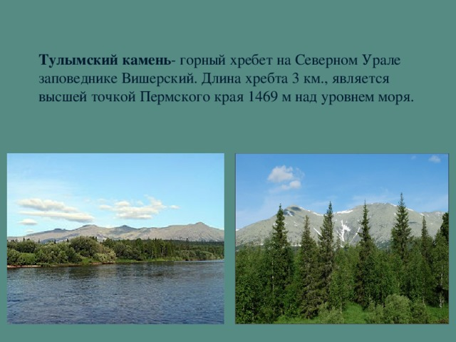 Тулымский камень - горный хребет на Северном Урале заповеднике Вишерский. Длина хребта 3 км., является высшей точкой Пермского края 1469 м над уровнем моря.