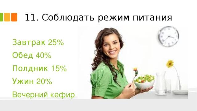 11. Соблюдать режим питания Завтрак 25% Обед 40% Полдник 15% Ужин 20% Вечерний кефир
