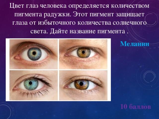 Цвет глаз человека определяется количеством пигмента радужки. Этот пигмент защищает глаза от избыточного количества солнечного света. Дайте название пигмента . Меланин 10 баллов