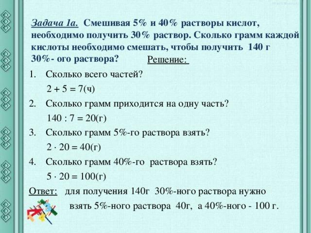 Задача 1а.  Смешивая 5% и 40% растворы кислот, необходимо получить 30% раствор. Сколько грамм каждой кислоты необходимо смешать, чтобы получить 140 г  30%- ого раствора?   Решение: Сколько всего частей?  2 + 5 = 7(ч) Сколько грамм приходится на одну часть?  140 : 7 = 20(г) Сколько грамм 5%-го раствора взять?  2 · 20 = 40(г) Сколько грамм 40%-го раствора взять?  5 · 20 = 100(г) Ответ:  для получения 140г 30%-ного раствора нужно  взять 5%-ного раствора 40г, а 40%-ного - 100 г.