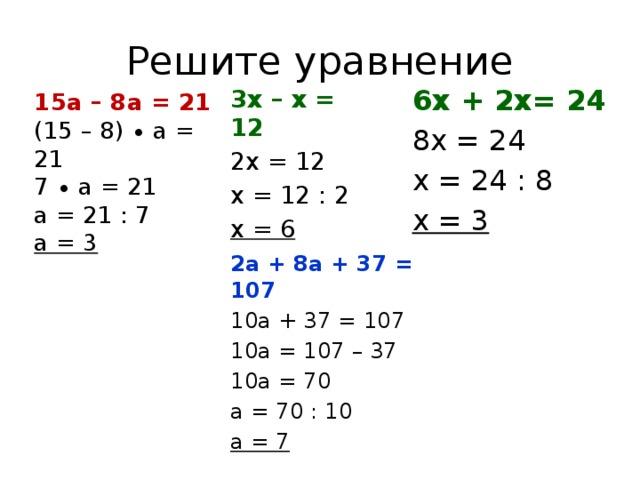 Решите уравнение 6х + 2х= 24 8х = 24 х = 24 : 8 х = 3 3х – х = 12 2х = 12 х = 12 : 2 х = 6 15а – 8а = 21 (15 – 8) ∙ а = 21 7 ∙ а = 21 а = 21 : 7 а = 3 2а + 8а + 37 = 107 10а + 37 = 107 10а = 107 – 37 10а = 70 а = 70 : 10 а = 7