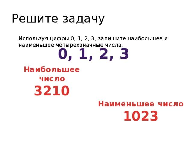 Решите задачу Используя цифры 0, 1, 2, 3, запишите наибольшее и наименьшее четырехзначные числа. 0, 1, 2, 3 Наибольшее число 3210 Наименьшее число 1023