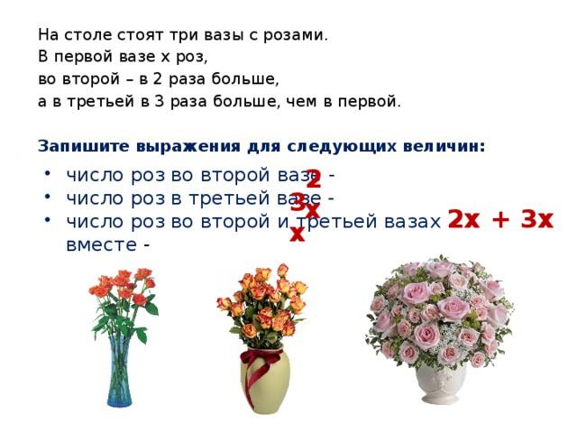 На столе стоят три вазы с розами. В первой вазе х роз, во второй – в 2 раза больше, а в третьей в 3 раза больше, чем в первой. Запишите выражения для следующих величин: число роз во второй вазе - число роз в третьей вазе - число роз во второй и третьей вазах вместе - 2х 3х 2х + 3х