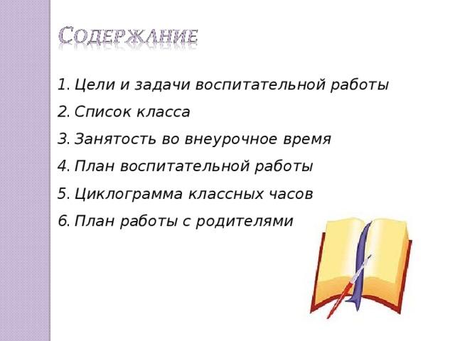 Цели и задачи воспитательной работы Список класса Занятость во внеурочное время План воспитательной работы Циклограмма классных часов План работы с родителями