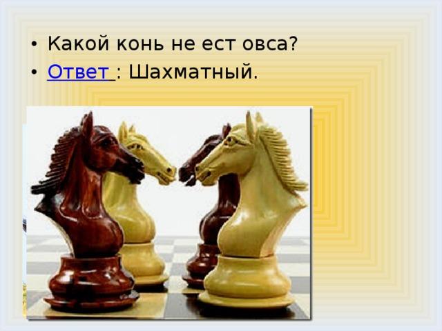 Какой конь не ест овса? Ответ