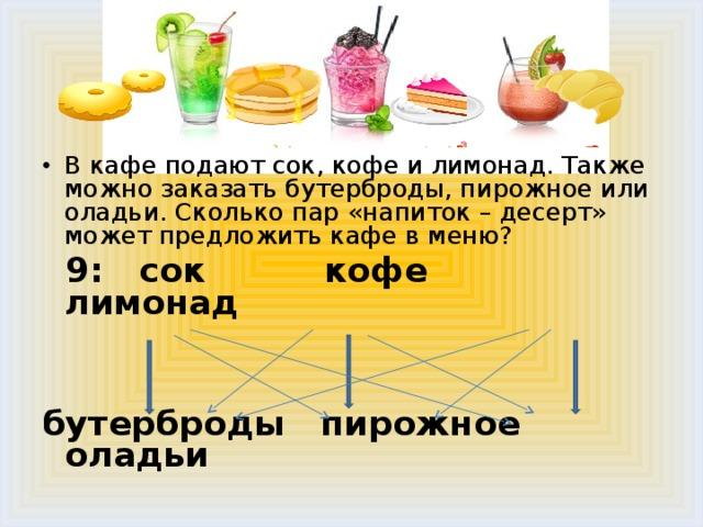 В кафе подают сок, кофе и лимонад. Также можно заказать бутерброды, пирожное или оладьи. Сколько пар «напиток – десерт» может предложить кафе в меню?