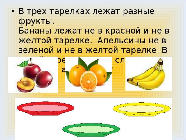 В трех тарелках лежат разные фрукты.  Бананы лежат не в красной и не в желтой тарелке. Апельсины не в зеленой и не в желтой тарелке. В какой тарелке лежат сливы? А бананы и апельсины?
