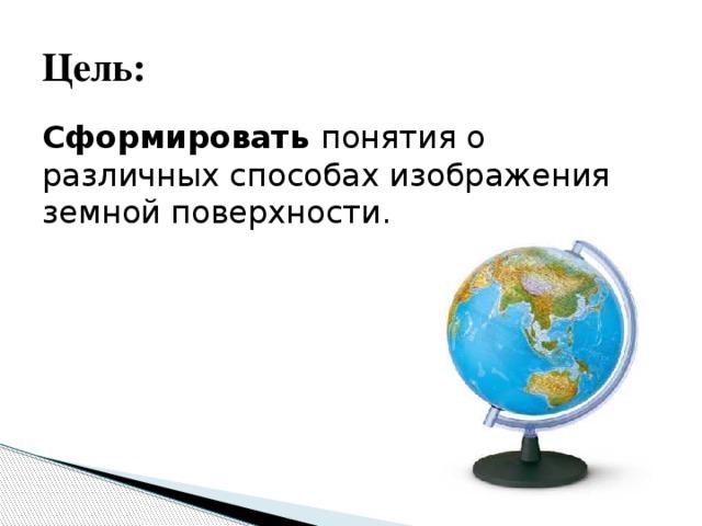 Цель: Сформировать понятия о различных способах изображения земной поверхности.