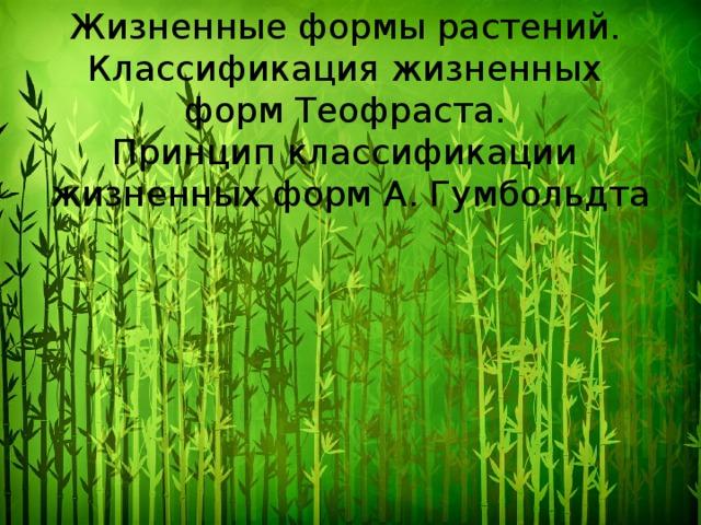 Жизненные формы растений. Классификация жизненных форм Теофраста. Принцип классификации жизненных форм А. Гумбольдта