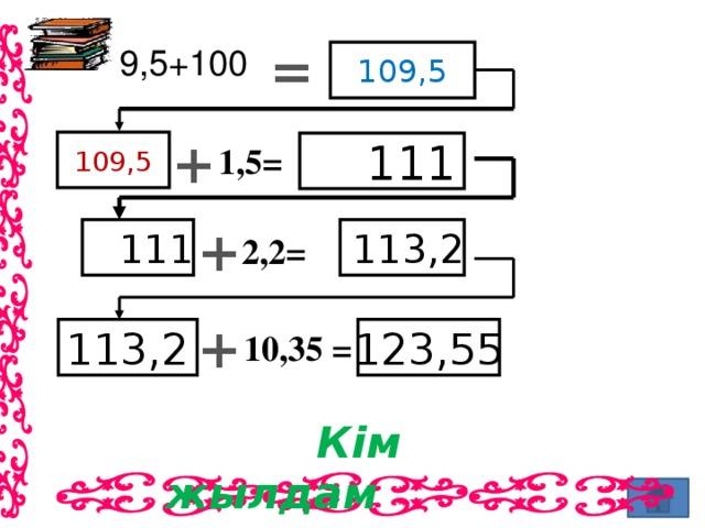 =  9,5+100 109,5 + 109,5  111 1,5= +  113,2  111 2,2= + 123,55 113,2 10,35 =  Кім жылдам