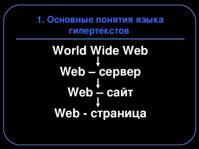 1. Основные понятия языка гипертекстов World Wide Web  Web – сервер  Web – сайт  Web - страница