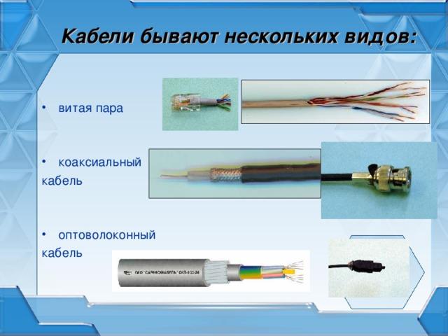 Кабели бывают нескольких видов: витая пара коаксиальный кабель оптоволоконный кабель