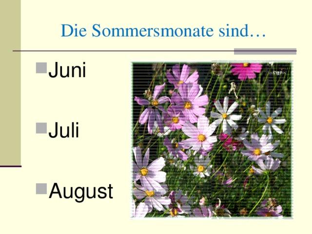 Die Sommersmonate sind… Juni Juli August