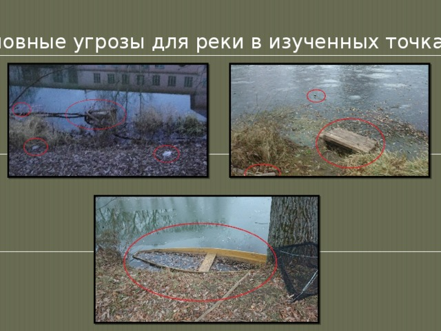 Основные угрозы для реки в изученных точках: