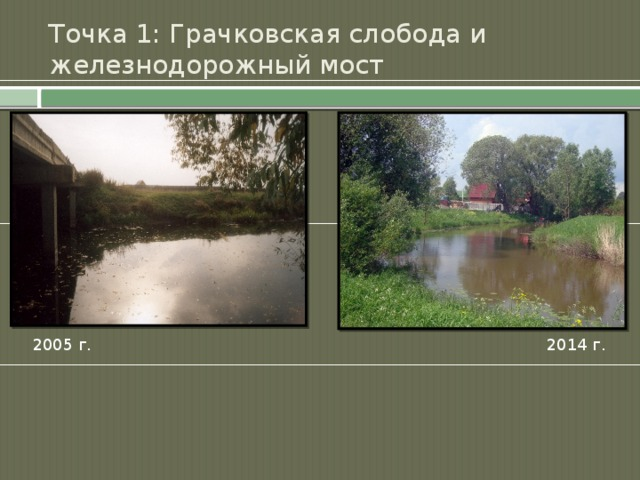 Точка 1: Грачковская слобода и железнодорожный мост 2005 г. 2014 г.