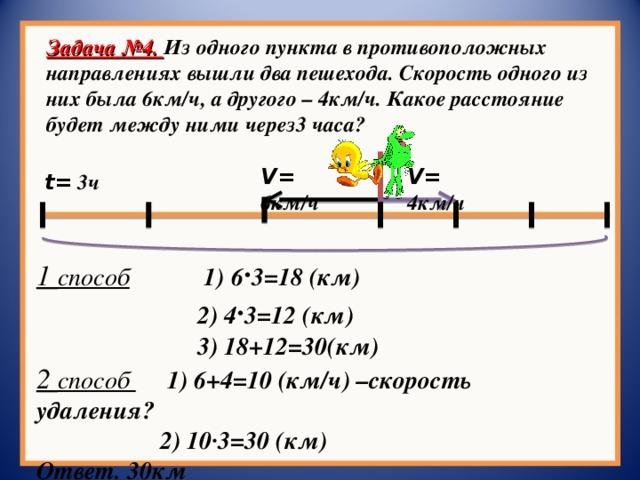 Задача №4. Из одного пункта в противоположных направлениях вышли два пешехода. Скорость одного из них была 6км/ч, а другого – 4км/ч. Какое расстояние будет между ними через3 часа? V = 4км/ч V = 6км/ч t = 3ч 1 способ  1) 6 · 3=18 (км)  2) 4 · 3=12 (км)  3) 18+12=30(км) 2 способ  1) 6+4=10 (км/ч) –скорость удаления?  2) 10∙3=30 (км) Ответ. 30км