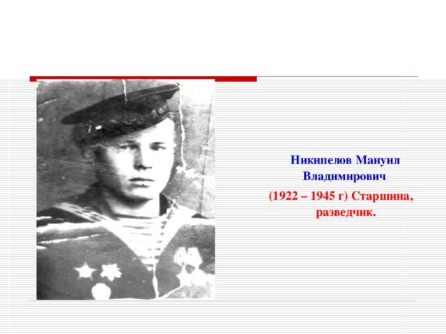 Никипелов Мануил Владимирович  (1922 – 1945 г) Старшина, разведчик.
