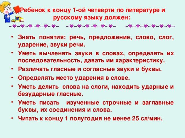 Ребенок к концу 1-ой четверти по литературе и русскому языку должен: