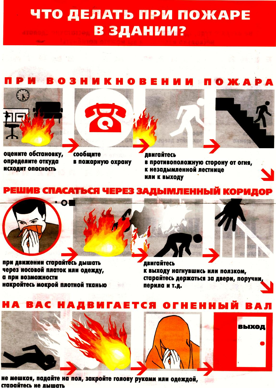 Памятка при пожаре по действиям с картинками