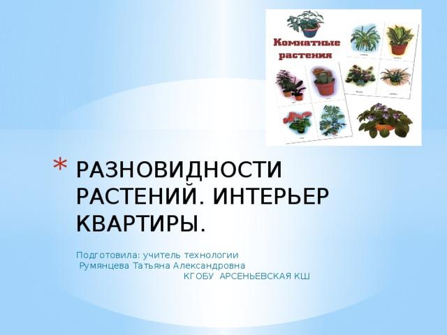 Разновидности растений. Интерьер квартиры.