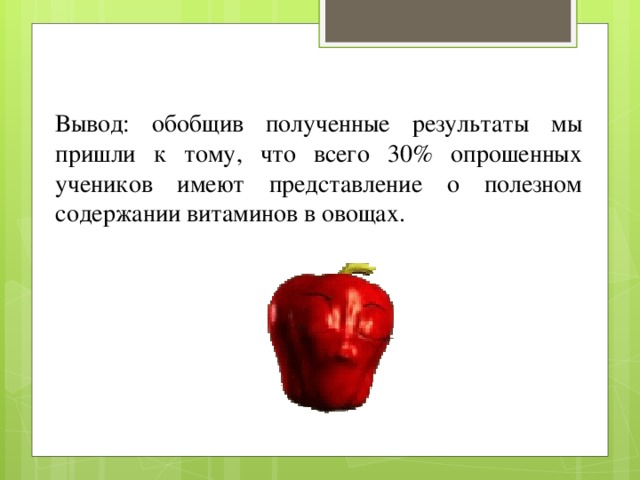 Вывод: обобщив полученные результаты мы пришли к тому, что всего 30% опрошенных учеников имеют представление о полезном содержании витаминов в овощах.