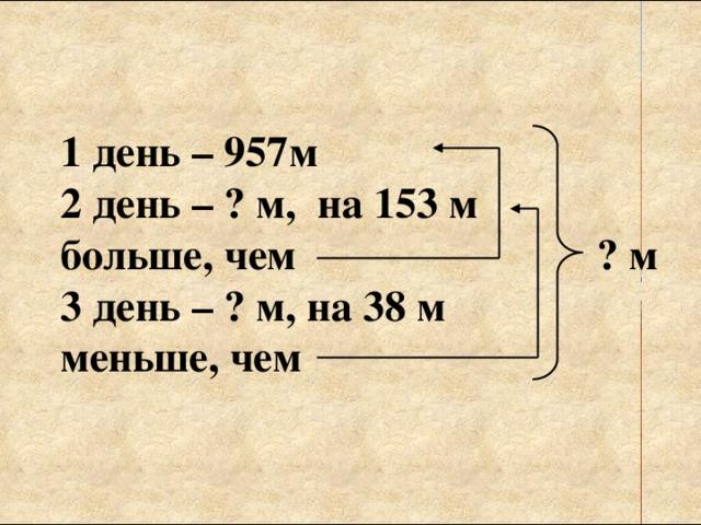 1 день – 957м 2 день – ? м, на 153 м больше, чем ? м 3 день – ? м, на 38 м меньше, чем