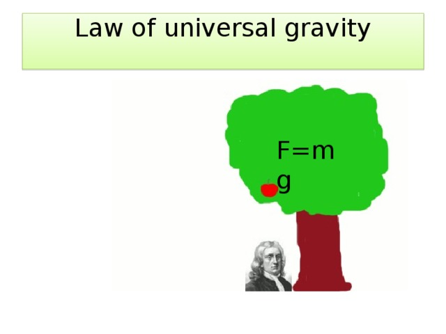 Law of universal gravity   F=mg