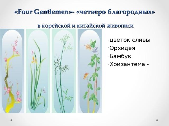 « Four Gentlemen »- «четверо благородных»   в корейской и китайской живописи - цветок сливы