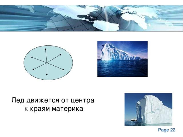 Лед движется от центра к краям материка