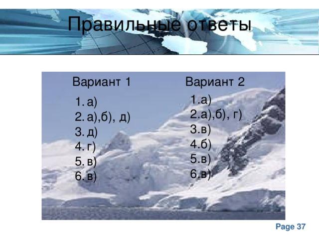 Правильные ответы Вариант 1 Вариант 2 1.а) 2.а),б), г) 3.в) 4.б) 5.в) 6.в)
