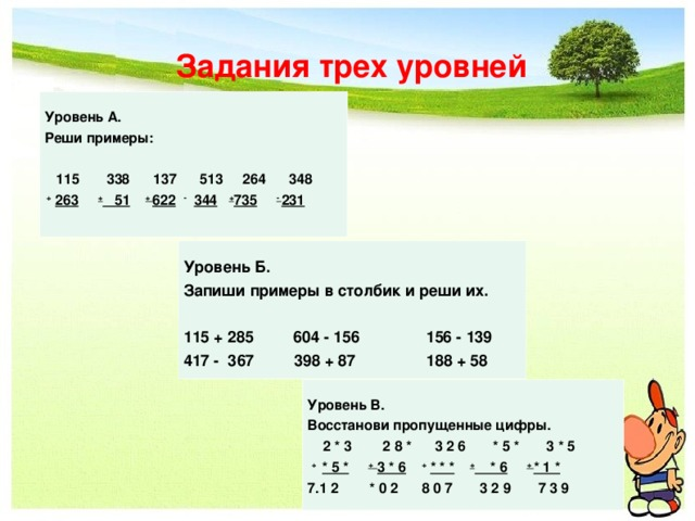Задания трех уровней  Уровень А. Реши примеры:   115 338 137 513 264 348  +  263  + 51  + 622  -  344  + 735  - 231    Уровень Б. Запиши примеры в столбик и реши их.  115 + 285 604 - 156 156 - 139 417 - 367 398 + 87 188 + 58   Уровень В. Восстанови пропущенные цифры.  2 * 3 2 8 * 3 2 6 * 5 * 3 * 5  +  * 5 *  + 3 * 6  +  * * *  + * 6  + * 1 *  1 2 * 0 2 8 0 7 3 2 9 7 3 9