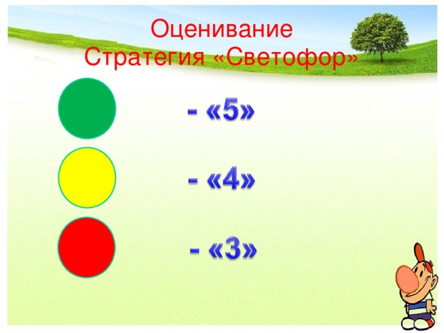 Оценивание  Стратегия «Светофор»