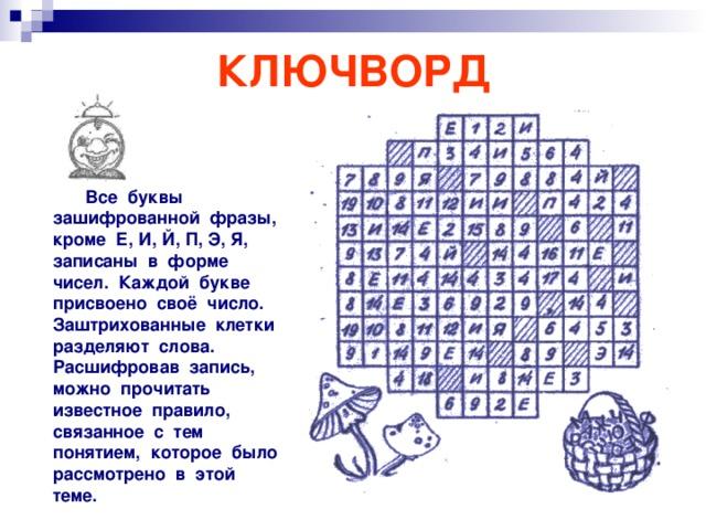 КЛЮЧВОРД  Все буквы зашифрованной фразы, кроме Е, И, Й, П, Э, Я, записаны в форме чисел. Каждой букве присвоено своё число. Заштрихованные клетки разделяют слова. Расшифровав запись, можно прочитать известное правило, связанное с тем понятием, которое было рассмотрено в этой теме.