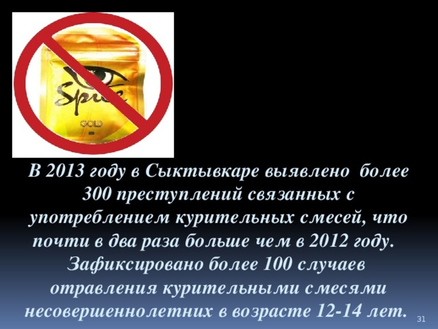 В 2013 году в Сыктывкаре выявлено более 300 преступлений связанных с употреблением курительных смесей, что почти в два раза больше чем в 2012 году.   Зафиксировано более 100 случаев отравления курительными смесями несовершеннолетних в возрасте 12-14 лет.