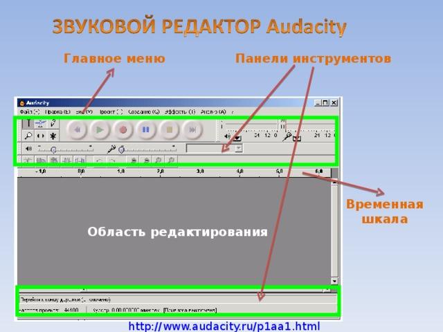 Главное меню Панели инструментов Временная шкала http://www.audacity.ru/p1aa1.html Область редактирования http://www.audacity.ru/p1aa1.html 21