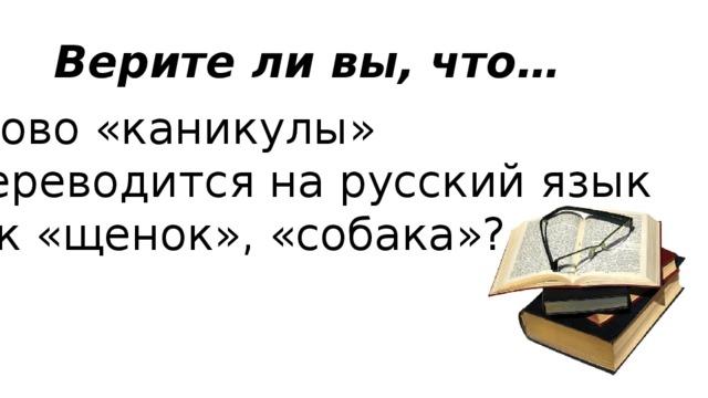Верите ли вы, что… Слово «каникулы»  переводится на русский язык как «щенок», «собака»?