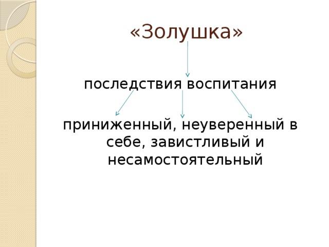 «Золушка» последствия воспитания приниженный, неуверенный в себе, завистливый и несамостоятельный