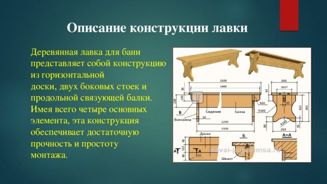 Описание конструкции лавки Деревянная лавка для бани представляет собой конструкцию из горизонтальной доски, двух боковых стоек и продольной связующей балки. Имея всего четыре основных элемента, эта конструкция обеспечивает достаточную прочность и простоту монтажа.
