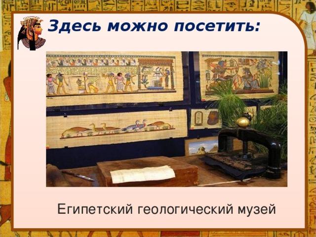 Здесь можно посетить: Египетский геологический музей
