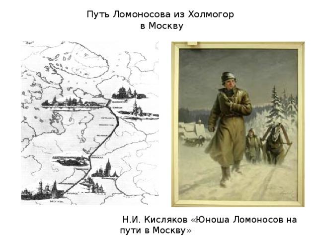 Путь Ломоносова из Холмогор  в Москву  Н.И. Кисляков «Юноша Ломоносов на пути в Москву»