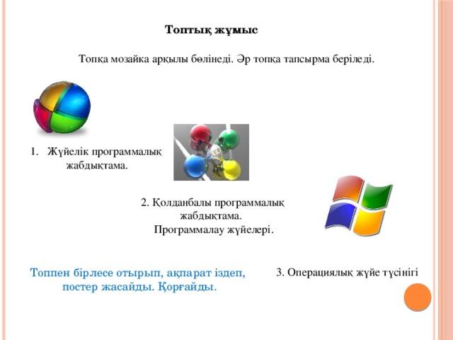 Топтық жұмыс Топқа мозайка арқылы бөлінеді. Әр топқа тапсырма беріледі. Жүйелік программалық жабдықтама. 2. Қолданбалы программалық жабдықтама. Программалау жүйелері. 3. Операциялық жүйе түсінігі Топпен бірлесе отырып, ақпарат іздеп, постер жасайды. Қорғайды.