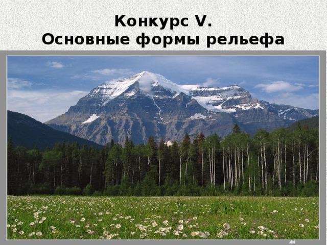Конкурс V.  Основные формы рельефа