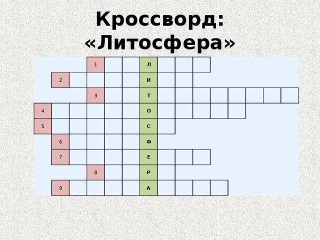 Кроссворд: «Литосфера» 2 1 4 5 3 Л 6 И 7 Т О 9 С 8 Ф Е Р А
