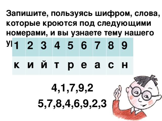 Запишите, пользуясь шифром, слова, которые кроются под следующими номерами, и вы узнаете тему нашего урока   1 2 к 3 и 4 й 5 т 6 р е 7 8 а 9 с н  4,1,7,9,2 5,7,8,4,6,9,2,3