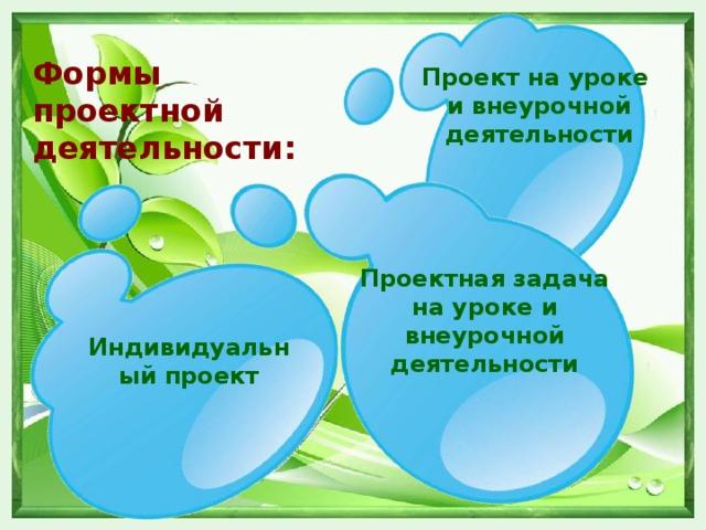 Формы проектной  деятельности: Проект на уроке и внеурочной деятельности Проектная задача на уроке и внеурочной деятельности Индивидуальный проект