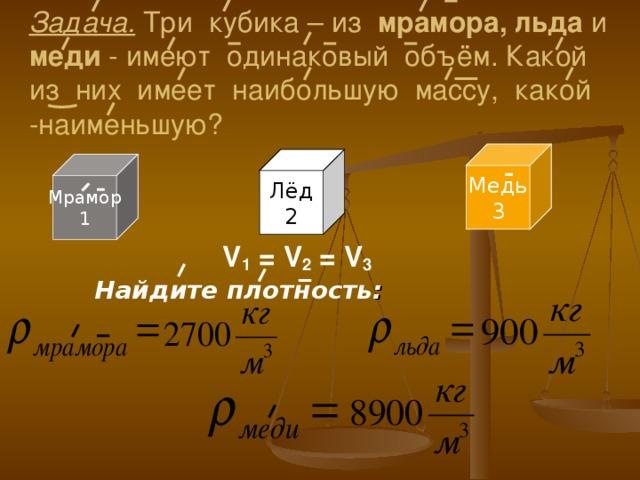 Задача. Три кубика – из мрамора, льда и меди - имеют одинаковый объём. Какой из них имеет наибольшую массу, какой -наименьшую? Медь 3 Лёд 2 Мрамор 1 V 1 = V 2 = V 3 Найдите  плотность :