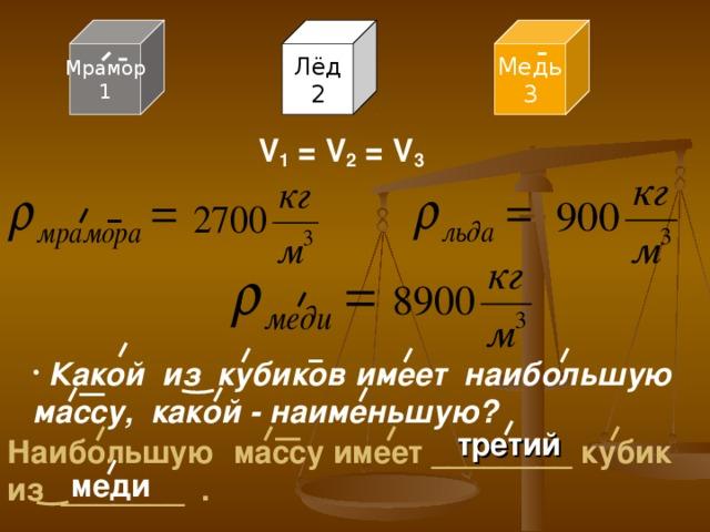 Медь 3 Лёд 2 Мрамор 1 V 1 = V 2 = V 3  Какой из кубиков имеет наибольшую массу, какой - наименьшую? третий Наибольшую массу имеет ________ кубик из _______ . меди