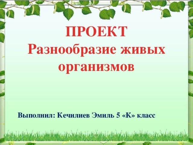 ПРОЕКТ Разнообразие живых организмов Выполнил: Кечилиев Эмиль 5 «К» класс