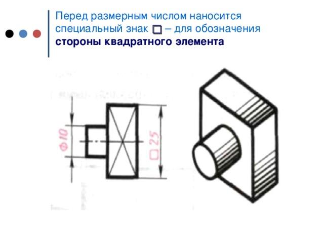Перед размерным числом наносится c пециальный знак  □  – для обозначения стороны  квадратного элемента